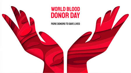 World donor day vector illustration for posters or invitations, medical design with 3d paper cut shapes. Place for text. Blood Donation Lifesaving and Hospital Assistance