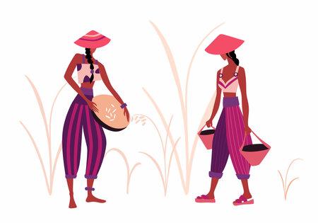 Flat farmer people. Asian farm rice fields vector illustration set. Asia agricultural rice plantations, farming, harvesting.