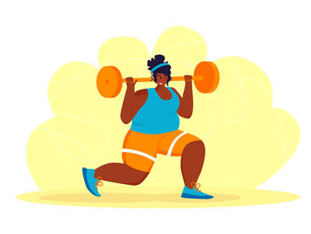 A young african american obese woman doing exercise. A girl working in sweat to get rid of belly fat. Obesity.