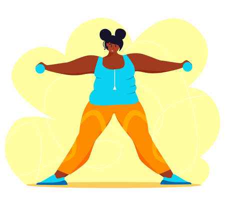 A young african american obese woman doing exercise. A girl working in sweat to get rid of belly fat. Obesity. 矢量图像