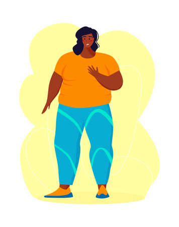 A young african american obese woman doing exercise. A girl working in sweat to get rid of belly fat. Obesity. Illustration