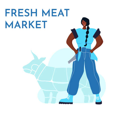 Butcher african woman. Female profession. Feminism. Fresh meat and meat products Meat market worker. Isolated vector illustration. Black girl Ilustración de vector