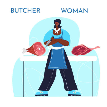 Butcher african woman. Female profession. Feminism. Fresh meat and meat products Meat market worker. Isolated vector illustration