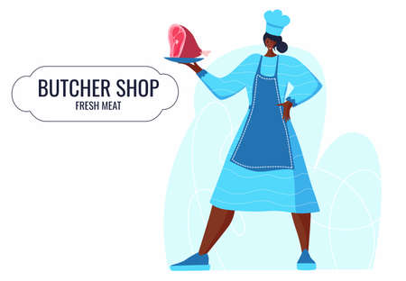 Butcher african woman. Female profession. Feminism. Fresh meat and meat products Meat market worker. Isolated vector illustration. Black girl