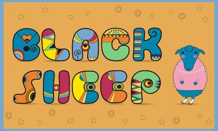 black sheep: Inscription Black Sheep. Colored Letters. Vector Illustration