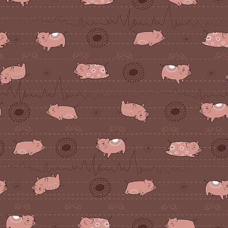 pink and brown background: Happy pink piggies with white patterns and brown background. Vector Seamless Pattern