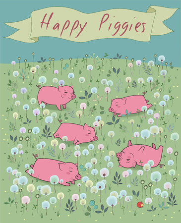 blossoming: Happy Piggies on the blossoming field. Vector Illustration