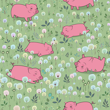 blossoming: Happy Pigs on the blossoming field. Vector Seamless Pattern