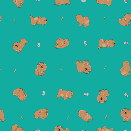 chow: Happy puppies. Vector seamless pattern Illustration