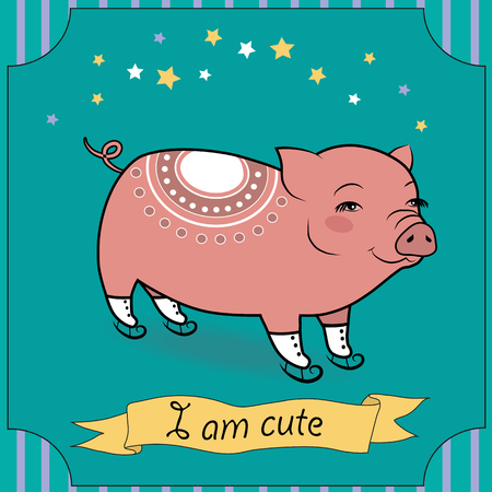 cute pig: Cute Pig with skates. Vector Illustration