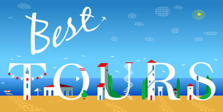 travel icons: Inscription Best tours. Cute white houses on the coast