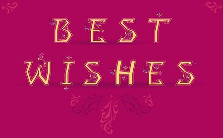 best wishes: Inscription Best Wishes. Delicate letters with floral pattern. Vector Illustration Illustration