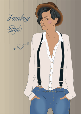 suspenders: Cute tomboy. Vector Illustration Illustration
