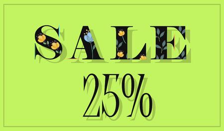 floral letters: Elegance Inscription Sale 25 percent. Black floral letters. Vector Illustration.