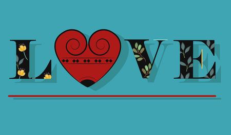 floral letters: Elegance Inscription Love. Black Floral Letters. Vector Illustration