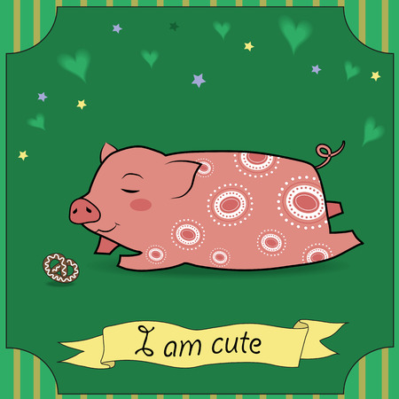 cute pig: Cute Pig with cake. Vector Illustration