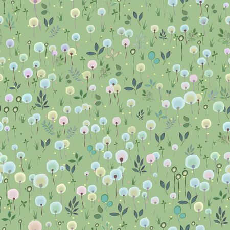 hayfield: Watercolor Blossoming  Field. Vector Seamless Pattern