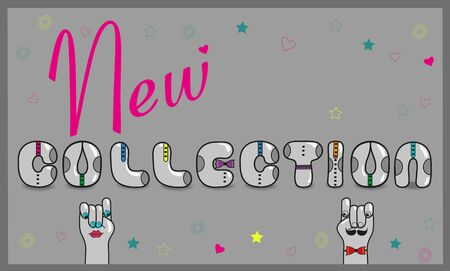 new collection: Inscription New Collection with hipster style Illustration