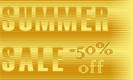 sunblind: Summer Sale Inscription. Striped  Yellow Letters. Vector Illustration