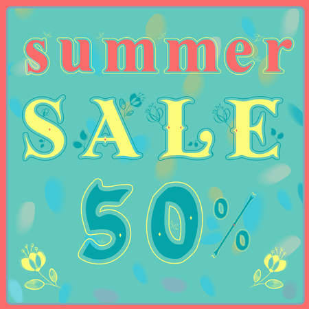 carved letters: Inscription Summer Sale. Graceful yellow letters with floral pattern. Vector Illustration