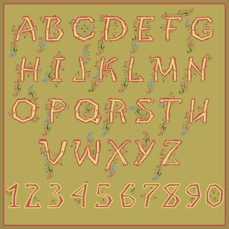 vegetal: Ethnic Alphabet with Floral Pattern. Vector Illustration