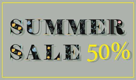floral letters: Elegance Inscription Summer Sale 50 percent. Black floral letters. Vector Illustration.