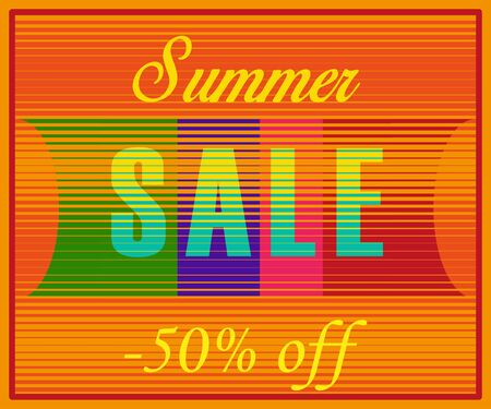 sunblind: Summer Sale Inscription. Striped  Yellow Blue Letters. Vector Illustration