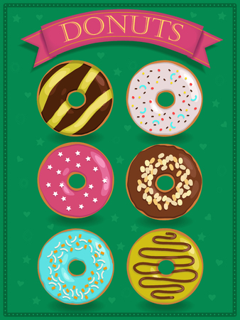 donuts: Set of sweet donuts. Vector illustration