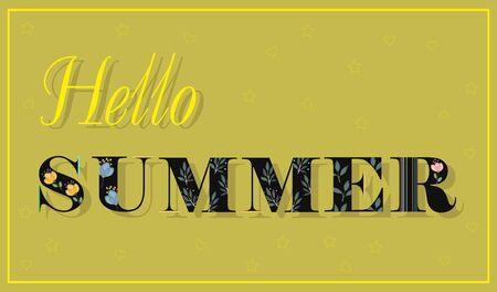 floral letters: Elegance Inscription Hello Summer. Black Floral Letters. Vector Illustration