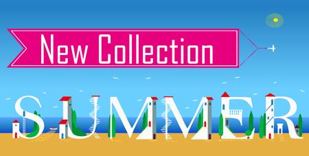 Inscription New summer collection. Cute white houses on the coast Ilustração