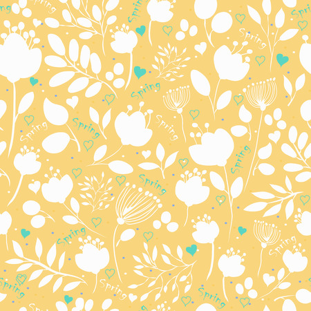 inscriptions: Floral seamless pattern with Spring inscriptions. Vector Illustration