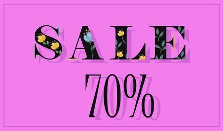 floral letters: Elegance Inscription Sale 70 percent. Black floral letters. Vector Illustration.