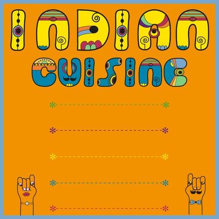 indian cuisine: Inscription Indian Cuisine. Blue Yellow Letters