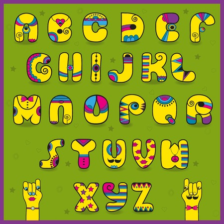 dandy: Dandy Alphabet. Funny yellow pink letters.