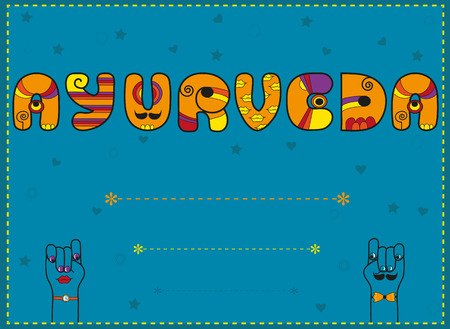 ayurveda: Inscription Ayurveda. Funny orange Letters with blue background