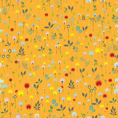 hayfield: Blossoming Field. Vector Seamless Pattern