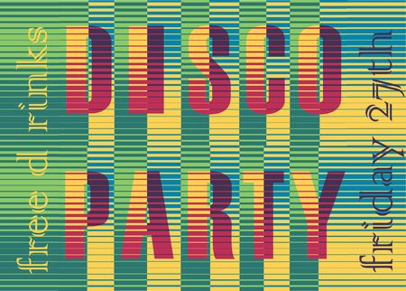 sunblind: Disco Party Inscription. Striped  Colorful Letters.
