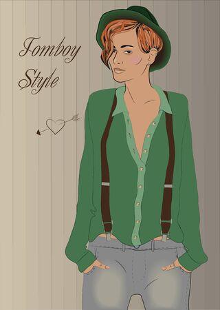 suspenders: Cute hipster Illustration