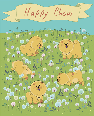 mead: Happy puppies on the blossoming field
