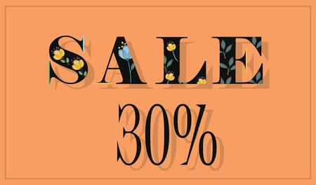 floral letters: Elegance Inscription Sale 30 percent. Black floral letters. Illustration. Illustration