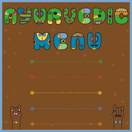 ayurvedic: Inscription Ayurvedic Menu. Colored Letters Illustration