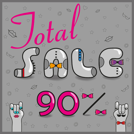 total: Inscription total sale with hipster style