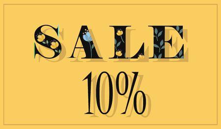 floral letters: Inscription Sale 10 percent. Black floral letters. Vector Illustration. Illustration