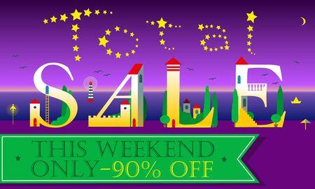 total: Total Sale Insription. Cute houses Font. Illustration