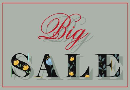 floral letters: Inscription Big Sale. Black floral letters