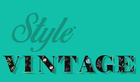 floral letters: Elegance Inscription Style Vintage. Black Floral Letters