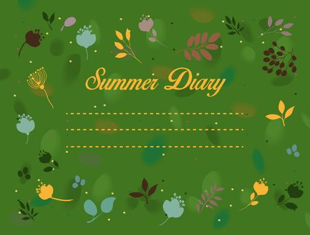 diary: Summer diary inscription with floral background.