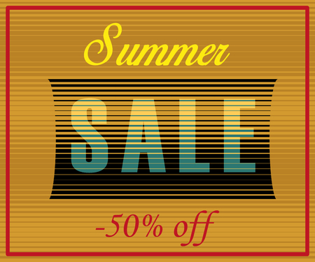 sunblind: Summer Sale Inscription. Striped  Yellow Blue Letters.