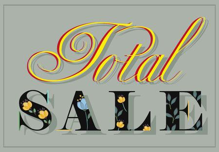 total: Inscription Total Sale. Black floral letters. Illustration