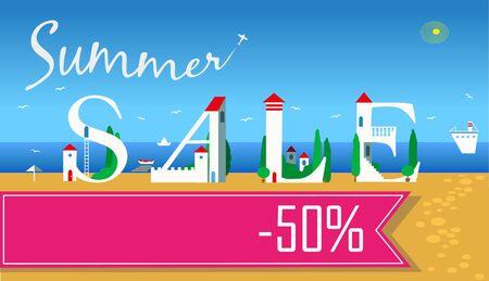 coast: Inscription Summer Sale. Cute white houses on the coast.  Illustration
